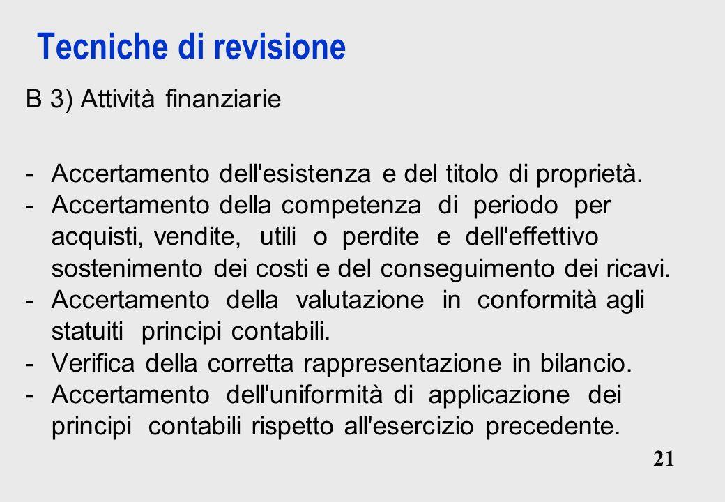 21 Tecniche di revisione B 3) Attività finanziarie -Accertamento dell esistenza e del titolo di proprietà.
