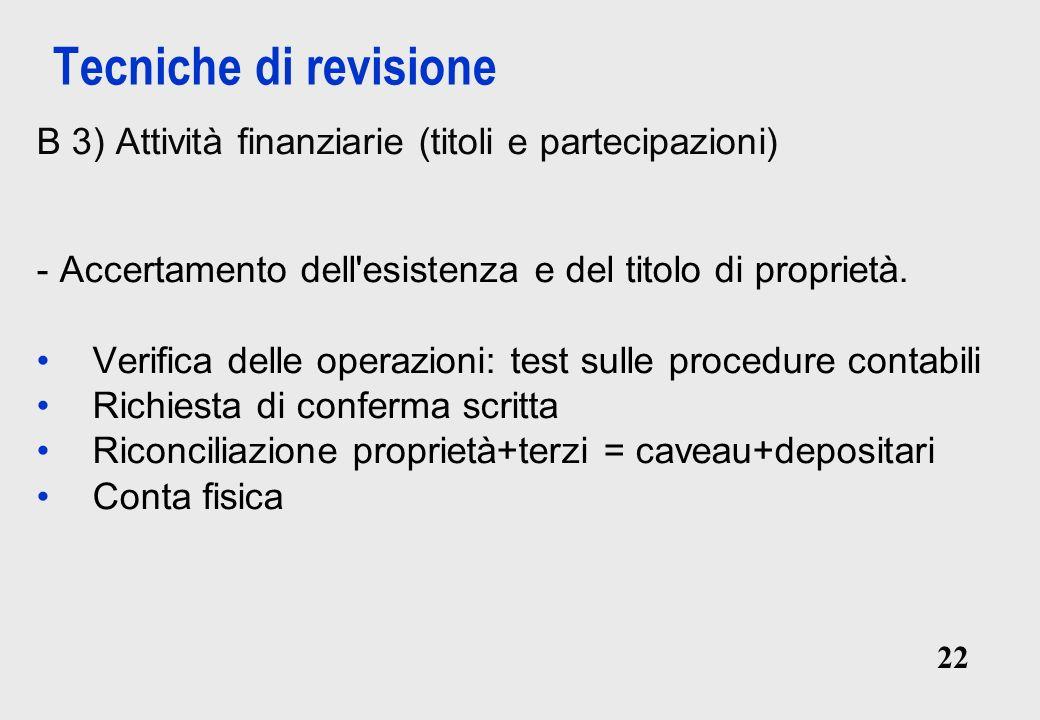 22 Tecniche di revisione B 3) Attività finanziarie (titoli e partecipazioni) - Accertamento dell esistenza e del titolo di proprietà.
