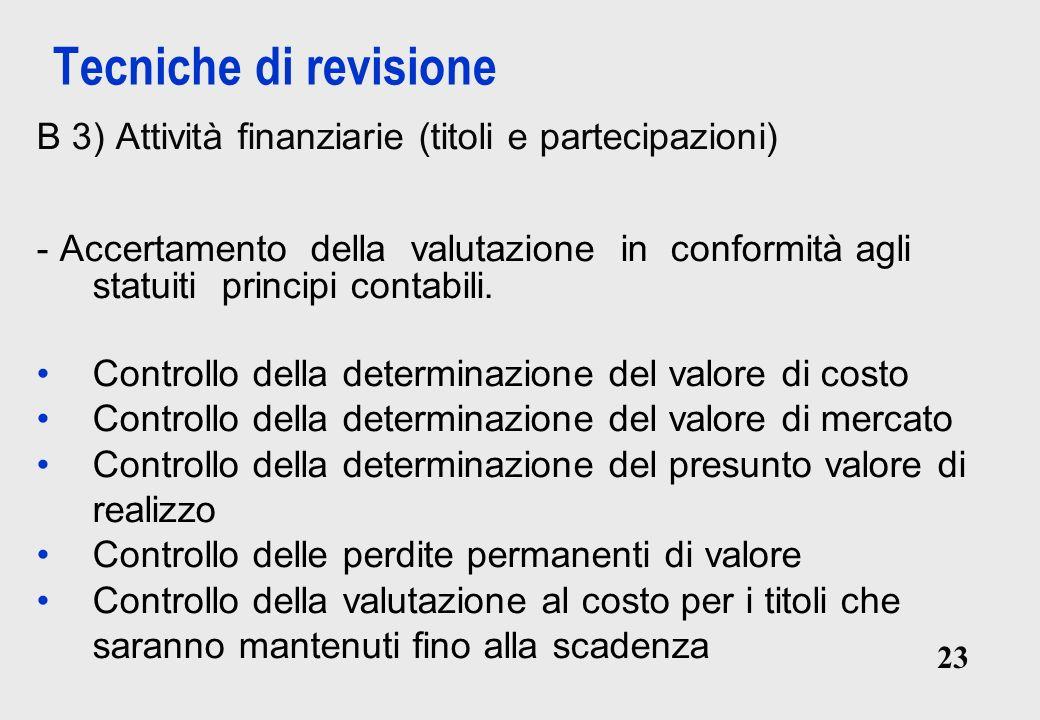 23 Tecniche di revisione B 3) Attività finanziarie (titoli e partecipazioni) - Accertamento della valutazione in conformità agli statuiti principi contabili.