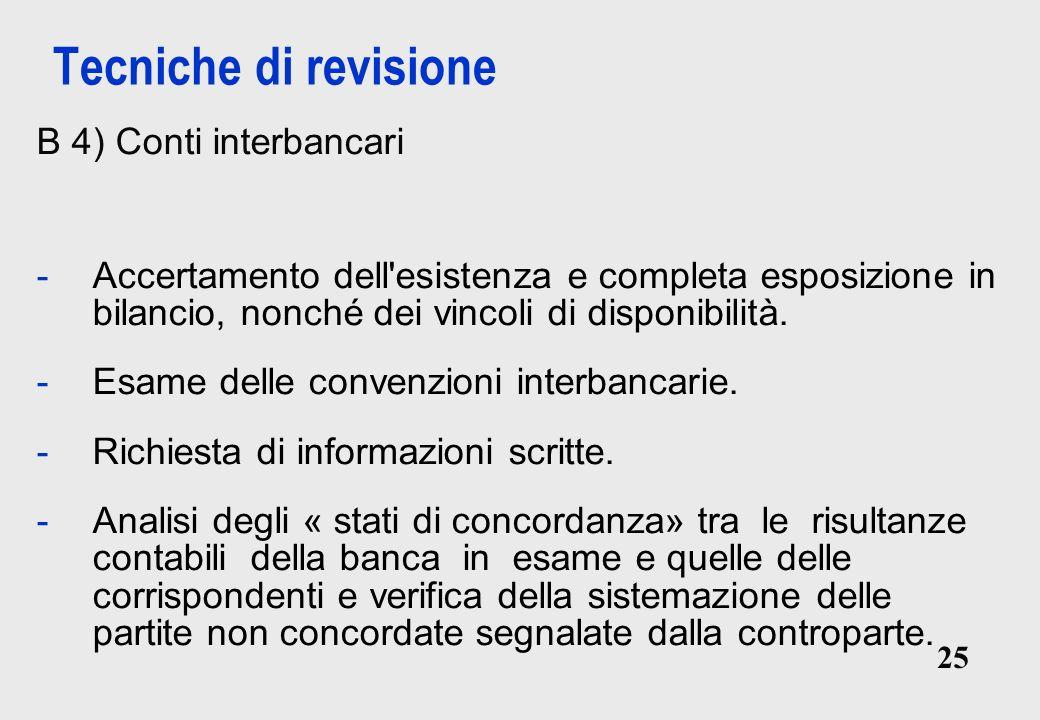 25 Tecniche di revisione B 4) Conti interbancari -Accertamento dell esistenza e completa esposizione in bilancio, nonché dei vincoli di disponibilità.