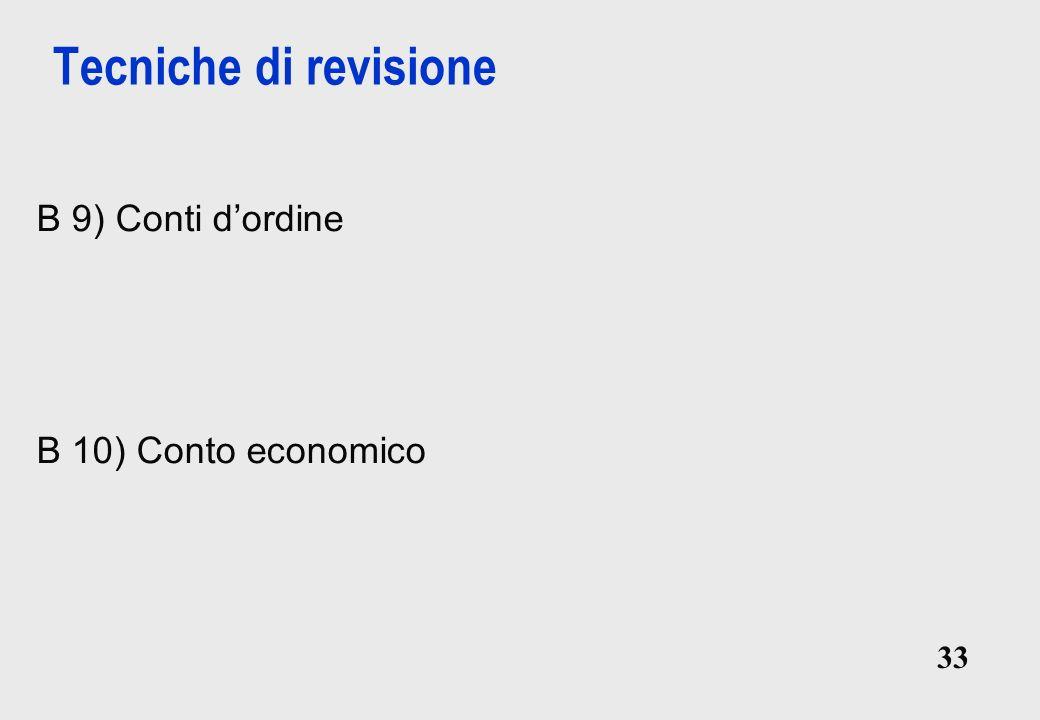 33 Tecniche di revisione B 9) Conti dordine B 10) Conto economico B 9) Conti dordine B 10) Conto economico