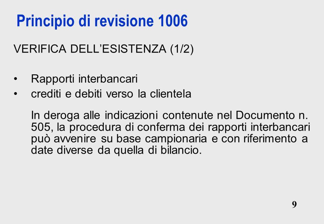 9 9 Principio di revisione 1006 VERIFICA DELLESISTENZA (1/2) Rapporti interbancari crediti e debiti verso la clientela In deroga alle indicazioni contenute nel Documento n.