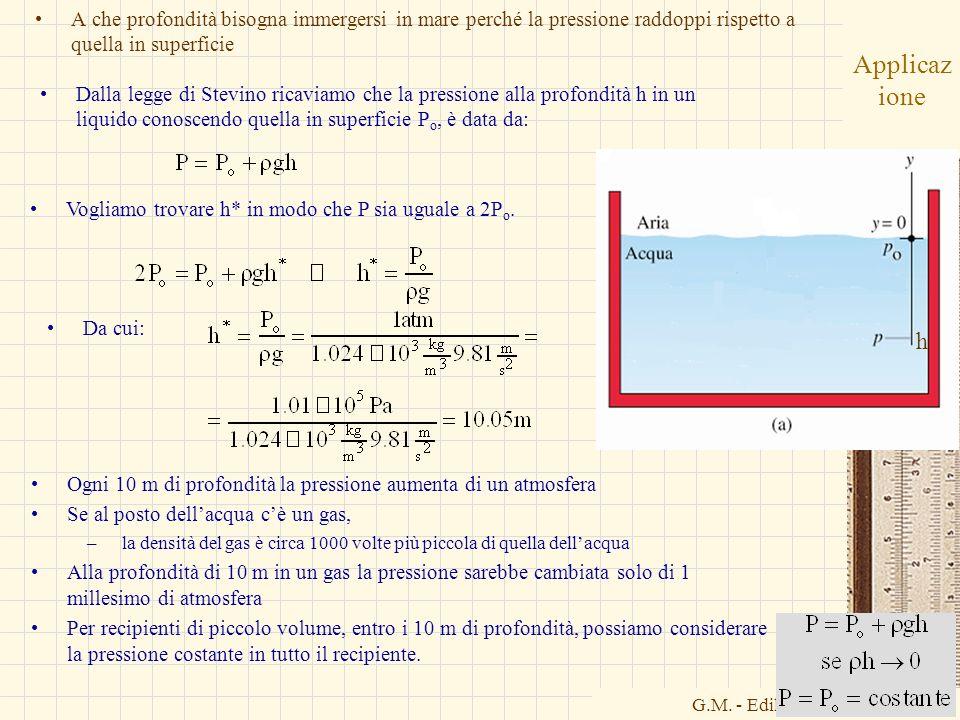 G.M. - Edile-Architettura 2004/05 Applicaz ione A che profondità bisogna immergersi in mare perché la pressione raddoppi rispetto a quella in superfic