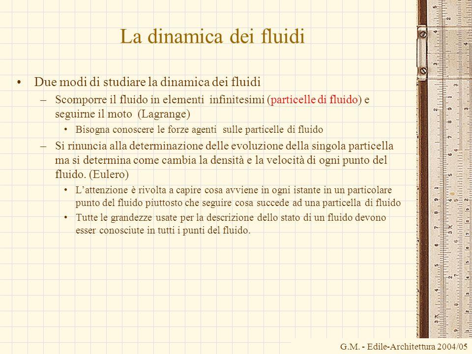 La dinamica dei fluidi Due modi di studiare la dinamica dei fluidi –Scomporre il fluido in elementi infinitesimi (particelle di fluido) e seguirne il