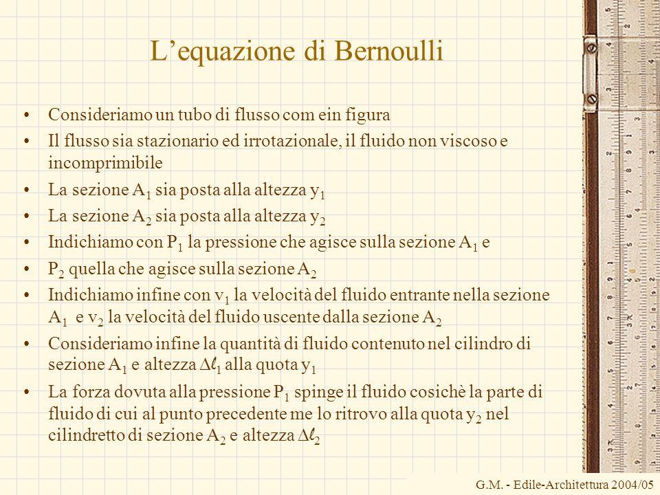 Lequazione di Bernoulli Consideriamo un tubo di flusso com ein figura Il flusso sia stazionario ed irrotazionale, il fluido non viscoso e incomprimibi