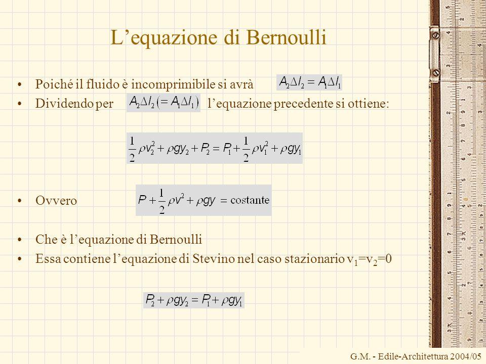 Lequazione di Bernoulli Poiché il fluido è incomprimibile si avrà Dividendo per lequazione precedente si ottiene: Ovvero Che è lequazione di Bernoulli