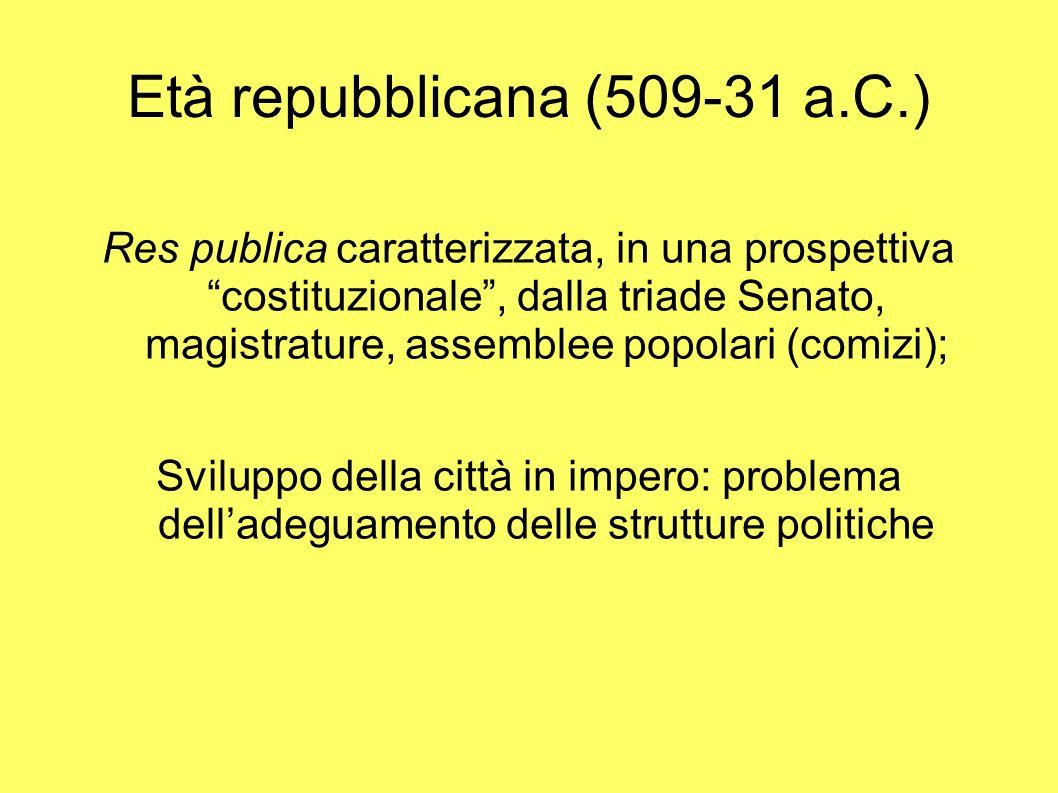 Età repubblicana (509-31 a.C.) Res publica caratterizzata, in una prospettiva costituzionale, dalla triade Senato, magistrature, assemblee popolari (c