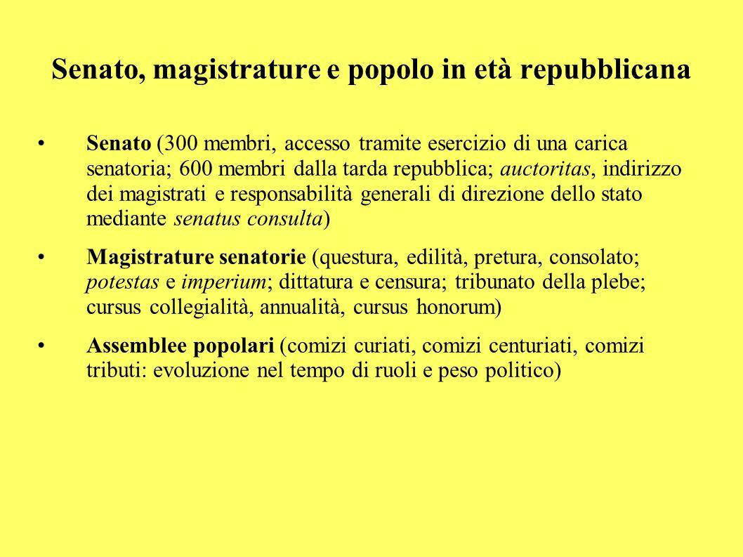 Senato, magistrature e popolo in età repubblicana Senato (300 membri, accesso tramite esercizio di una carica senatoria; 600 membri dalla tarda repubb