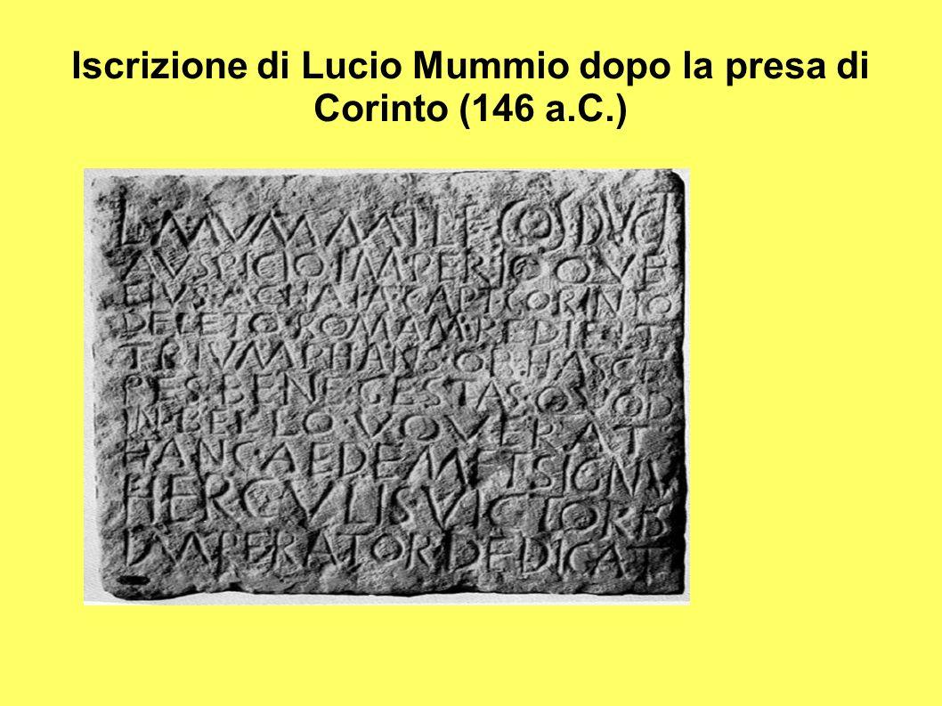 Iscrizione di Lucio Mummio dopo la presa di Corinto (146 a.C.)