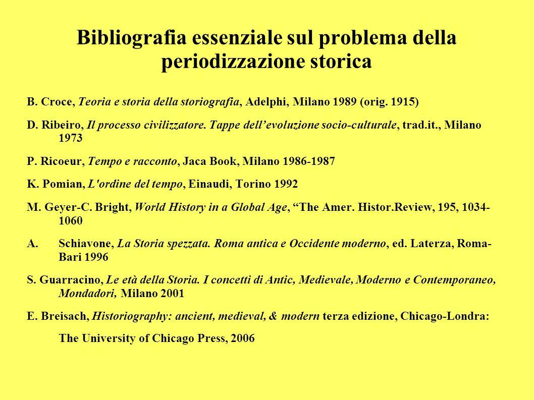 Bibliografia essenziale sul problema della periodizzazione storica B. Croce, Teoria e storia della storiografia, Adelphi, Milano 1989 (orig. 1915) D.