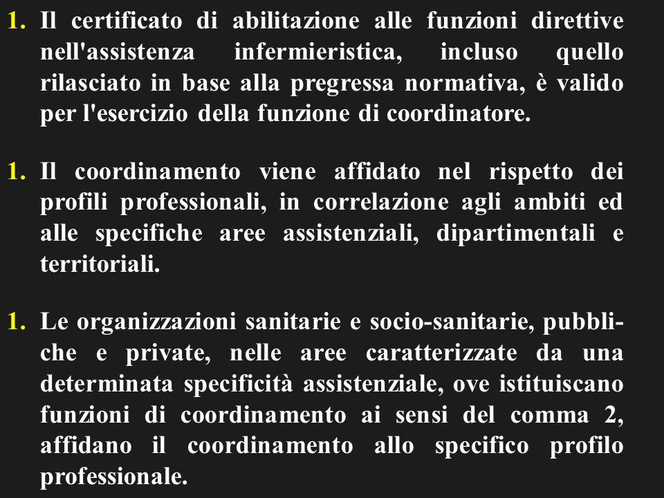 1.Il certificato di abilitazione alle funzioni direttive nell assistenza infermieristica, incluso quello rilasciato in base alla pregressa normativa, è valido per l esercizio della funzione di coordinatore.