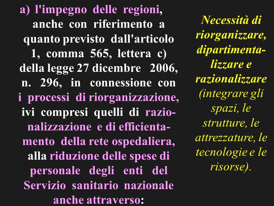 a)l impegno delle regioni, anche con riferimento a quanto previsto dall articolo 1, comma 565, lettera c) della legge 27 dicembre 2006, n.
