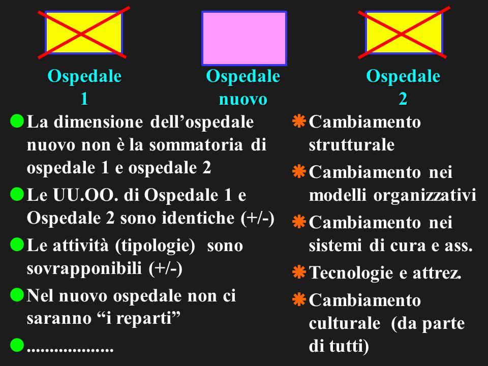 Ospedale1Ospedale2Ospedalenuovo La dimensione dellospedale nuovo non è la sommatoria di ospedale 1 e ospedale 2 Le UU.OO.