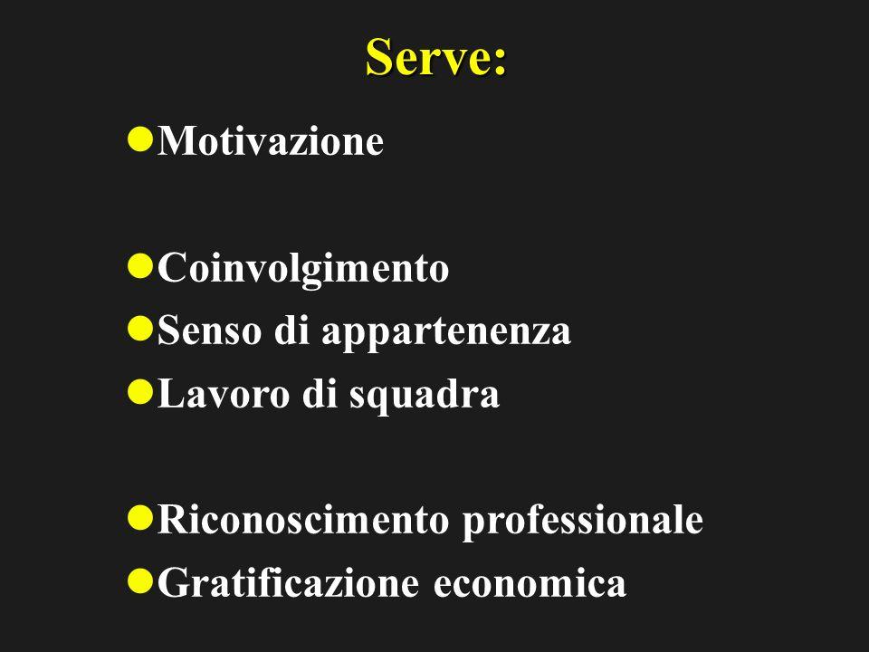 Serve: Motivazione Coinvolgimento Senso di appartenenza Lavoro di squadra Riconoscimento professionale Gratificazione economica