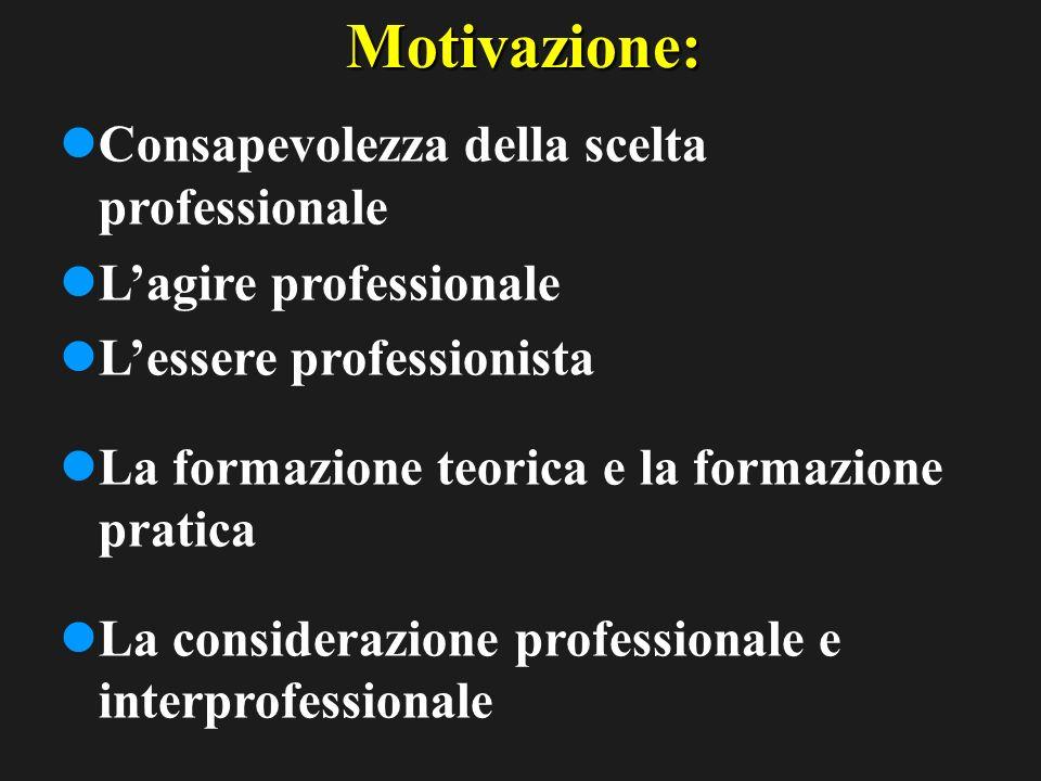 Motivazione: Consapevolezza della scelta professionale Lagire professionale Lessere professionista La formazione teorica e la formazione pratica La considerazione professionale e interprofessionale