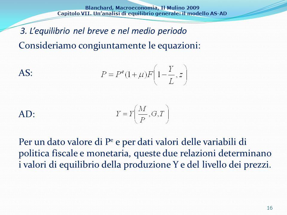 Blanchard, Macroeconomia, Il Mulino 2009 Capitolo VII. Unanalisi di equilibrio generale: il modello AS-AD 3. Lequilibrio nel breve e nel medio periodo