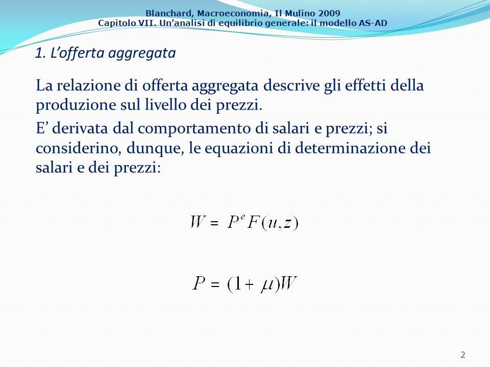 Blanchard, Macroeconomia, Il Mulino 2009 Capitolo VII. Unanalisi di equilibrio generale: il modello AS-AD 1. Lofferta aggregata La relazione di offert