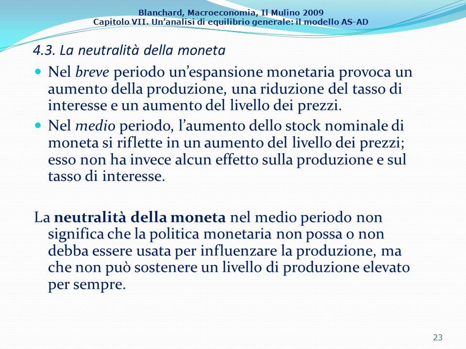 Blanchard, Macroeconomia, Il Mulino 2009 Capitolo VII. Unanalisi di equilibrio generale: il modello AS-AD 4.3. La neutralità della moneta Nel breve pe