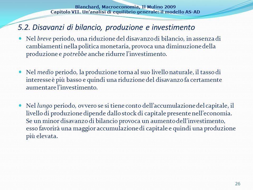 Blanchard, Macroeconomia, Il Mulino 2009 Capitolo VII. Unanalisi di equilibrio generale: il modello AS-AD 5.2. Disavanzi di bilancio, produzione e inv