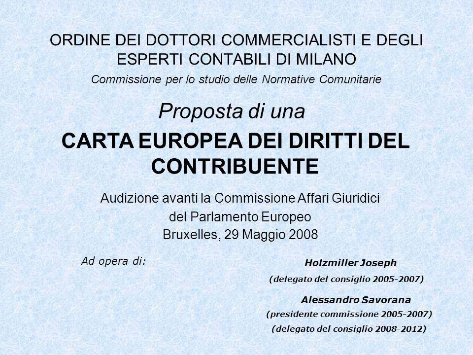 ORDINE DEI DOTTORI COMMERCIALISTI E DEGLI ESPERTI CONTABILI DI MILANO Proposta di una Commissione per lo studio delle Normative Comunitarie CARTA EURO