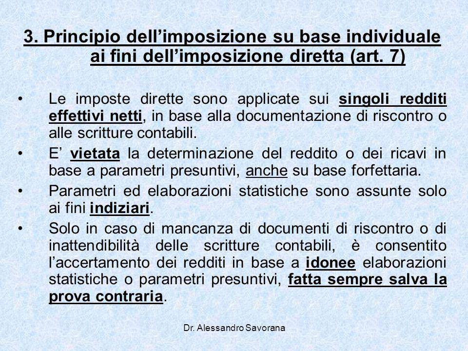 Dr. Alessandro Savorana 3. Principio dellimposizione su base individuale ai fini dellimposizione diretta (art. 7) Le imposte dirette sono applicate su