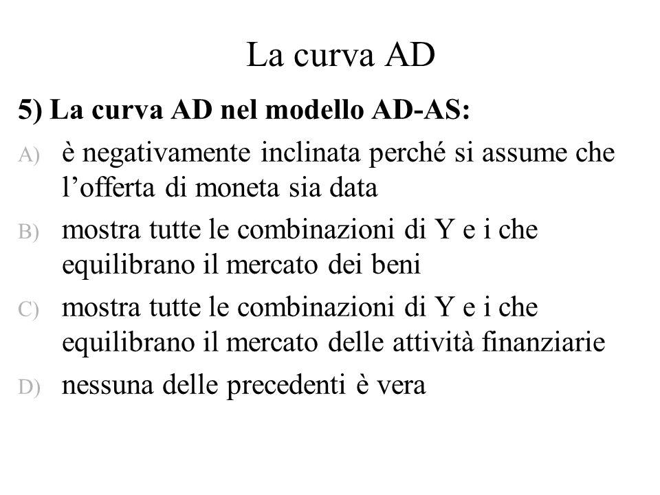 La curva AD 5) La curva AD nel modello AD-AS: A) è negativamente inclinata perché si assume che lofferta di moneta sia data B) mostra tutte le combina