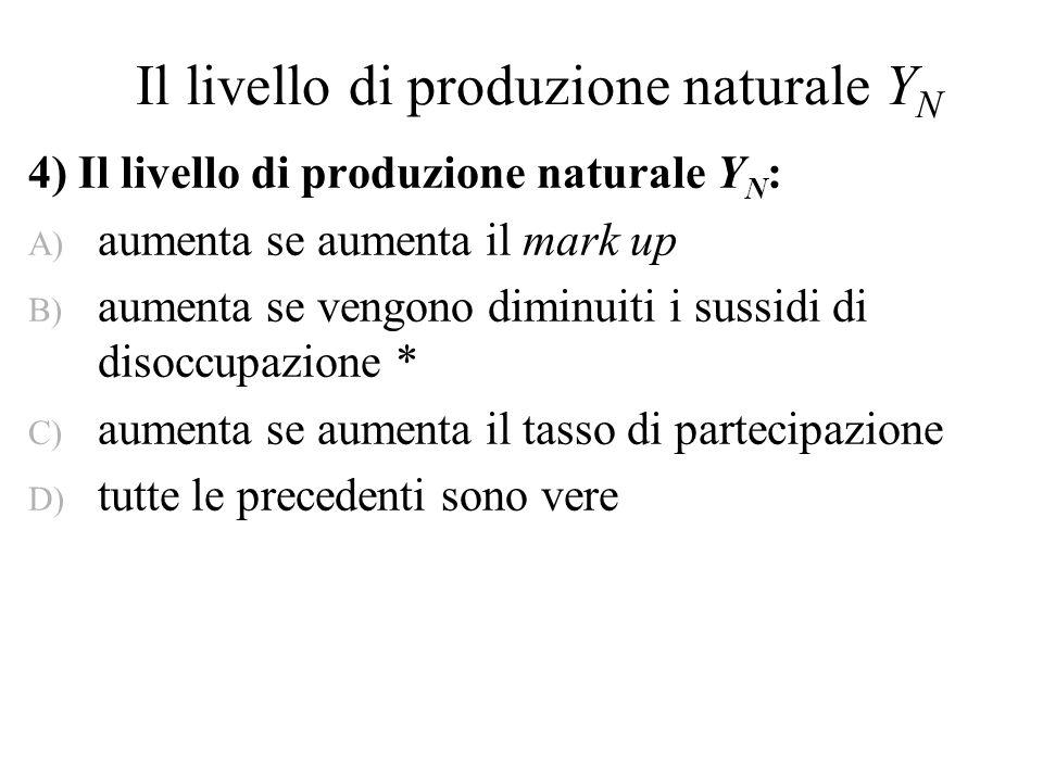Il livello di produzione naturale Y N 4) Il livello di produzione naturale Y N : A) aumenta se aumenta il mark up B) aumenta se vengono diminuiti i su