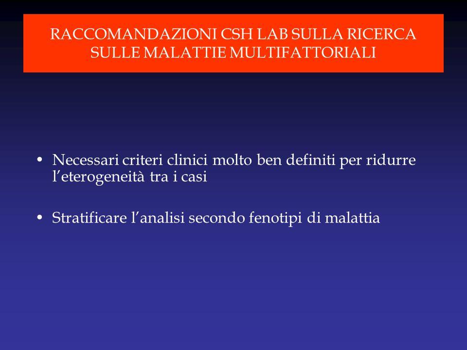 Necessari criteri clinici molto ben definiti per ridurre leterogeneità tra i casi Stratificare lanalisi secondo fenotipi di malattia RACCOMANDAZIONI C
