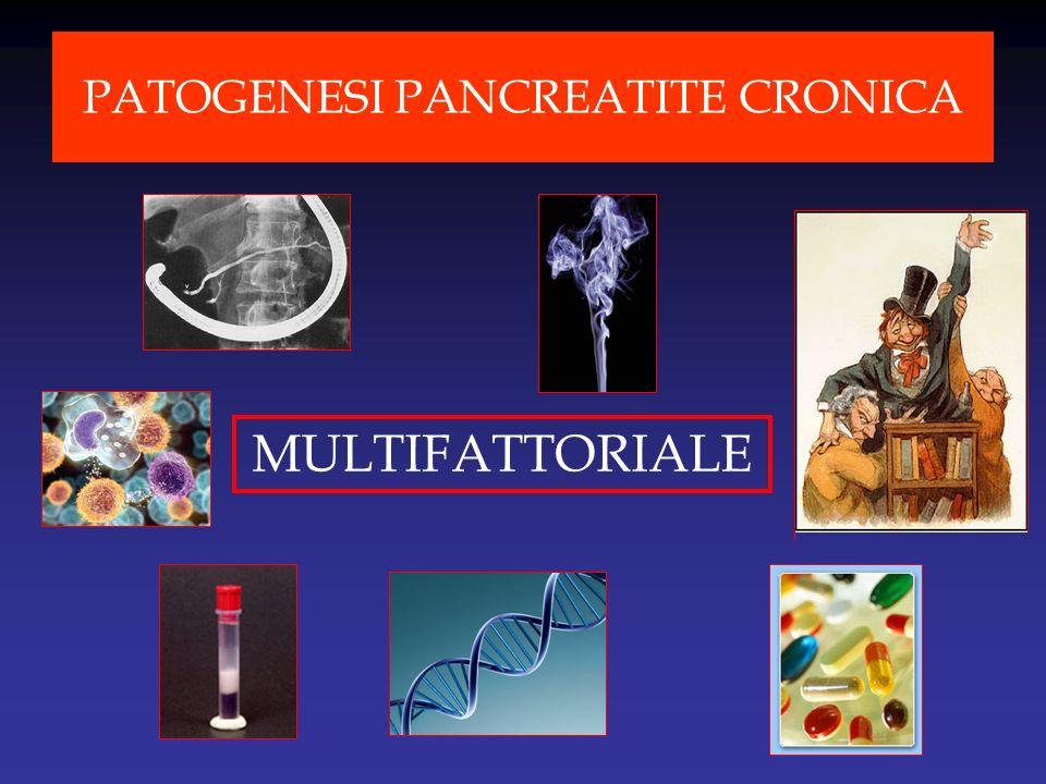 1952 Prima descrizione di pancreatite ereditaria 1996 Descrizione mutazione R122H del gene del tripsinogeno cationico (PRSS1) Mappatura del gene associato a pancreatite ereditaria nel locus 7q35 1998 Associazione tra mutazioni del CFTR e pancreatite cronica 2000 Variazioni del gene SPINK-1 sono state associate a pancreatite cronica 2003 Il gene per il recettore Ca ++ sensibile (CASR) identificato quale modificatore di malattia 2006 Il Chimotripsinogeno C (CTRC) è stato identificato come specifico nella degradazione di tripsinogeno e tripsina Mutazioni che causino perdita di funzione di PRSS1 possono proteggere dalla pancreatite 20072008 Mutazioni che causino perdita di funzione di PRSS2 possono proteggere dalla pancreatite Identificazione di CTRC quale gene di suscettibilità alla pancreatite