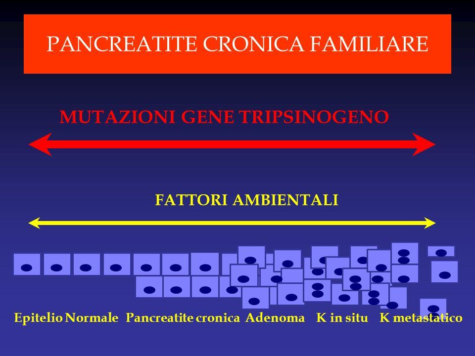 FATTORI AMBIENTALI Epitelio NormalePancreatite cronicaAdenoma K in situK metastatico MUTAZIONI GENE TRIPSINOGENO PANCREATITE CRONICA FAMILIARE