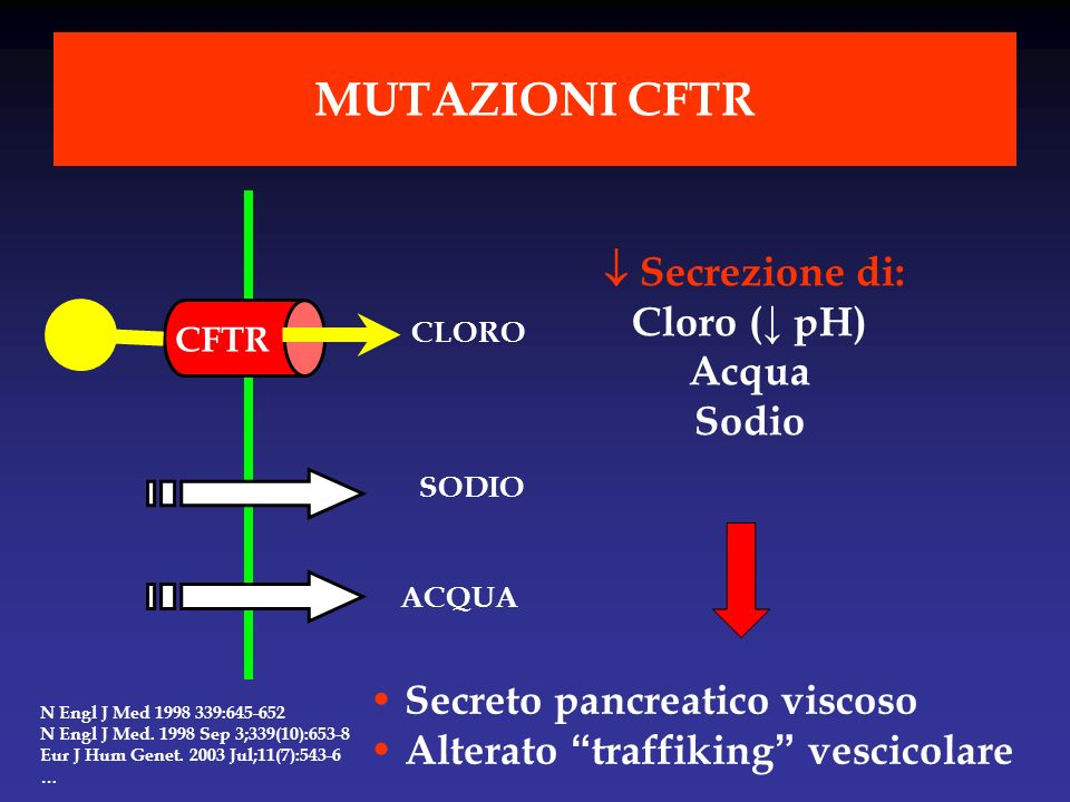Secrezione di: Cloro ( pH) Acqua Sodio Secreto pancreatico viscoso Alterato traffiking vescicolare CFTR SODIO ACQUA CLORO MUTAZIONI CFTR N Engl J Med