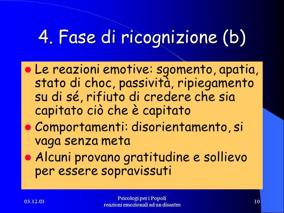 03.12.03 Psicologi per i Popoli reazioni emozionali ad un disastro 10 4. Fase di ricognizione (b) Le reazioni emotive: sgomento, apatia, stato di choc