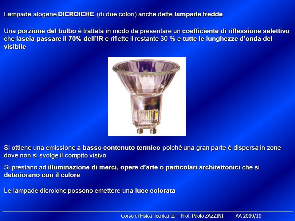 Lampade alogene DICROICHE (di due colori) anche dette lampade fredde Una porzione del bulbo è trattata in modo da presentare un coefficiente di rifles