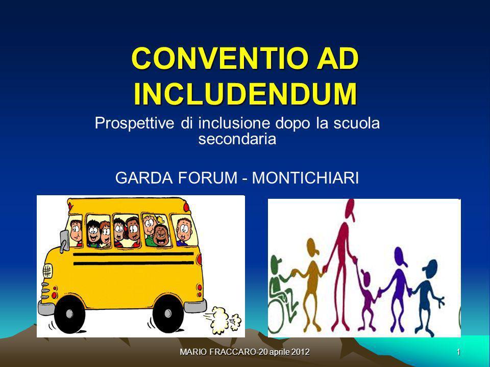 1 MARIO FRACCARO-20 aprile 2012 CONVENTIO AD INCLUDENDUM Prospettive di inclusione dopo la scuola secondaria GARDA FORUM - MONTICHIARI