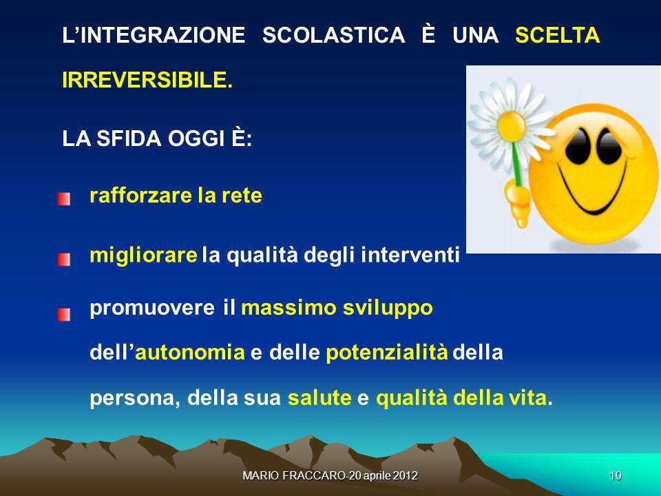 MARIO FRACCARO-20 aprile 201210 LINTEGRAZIONE SCOLASTICA È UNA SCELTA IRREVERSIBILE. LA SFIDA OGGI È: rafforzare la rete migliorare la qualità degli i