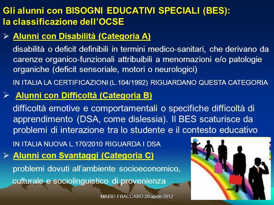 MARIO FRACCARO-20 aprile 201211 Gli alunni con BISOGNI EDUCATIVI SPECIALI (BES): la classificazione dellOCSE Alunni con Disabilità (Categoria A) disab