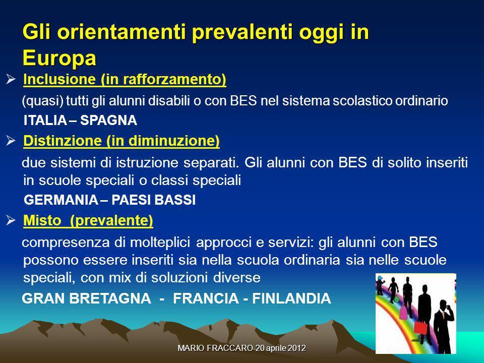 MARIO FRACCARO-20 aprile 201212 Gli orientamenti prevalenti oggi in Europa Inclusione (in rafforzamento) (quasi) tutti gli alunni disabili o con BES n