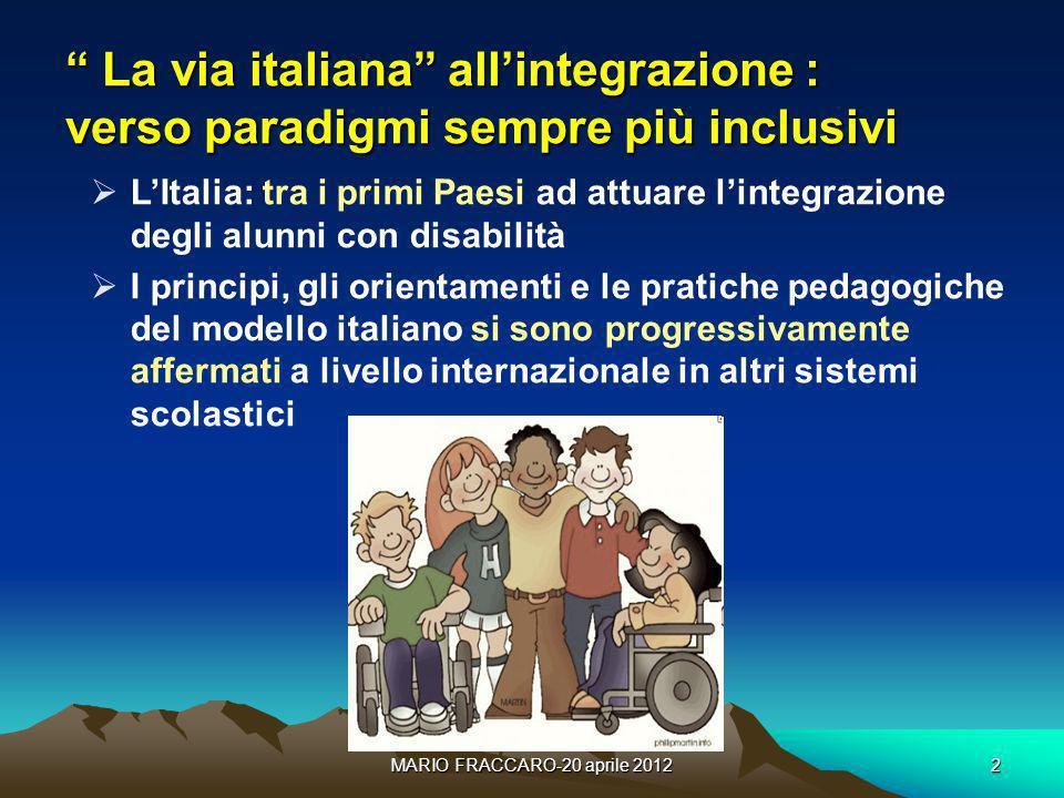 MARIO FRACCARO-20 aprile 20122 La via italiana allintegrazione : verso paradigmi sempre più inclusivi La via italiana allintegrazione : verso paradigm