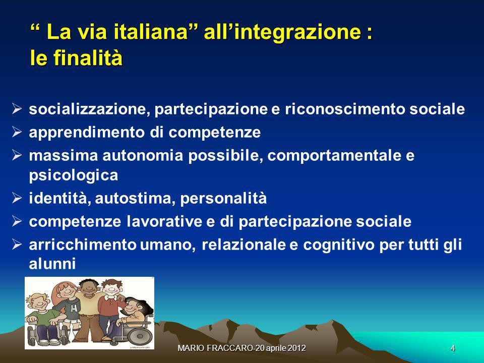 MARIO FRACCARO-20 aprile 20124 La via italiana allintegrazione : le finalità La via italiana allintegrazione : le finalità socializzazione, partecipaz