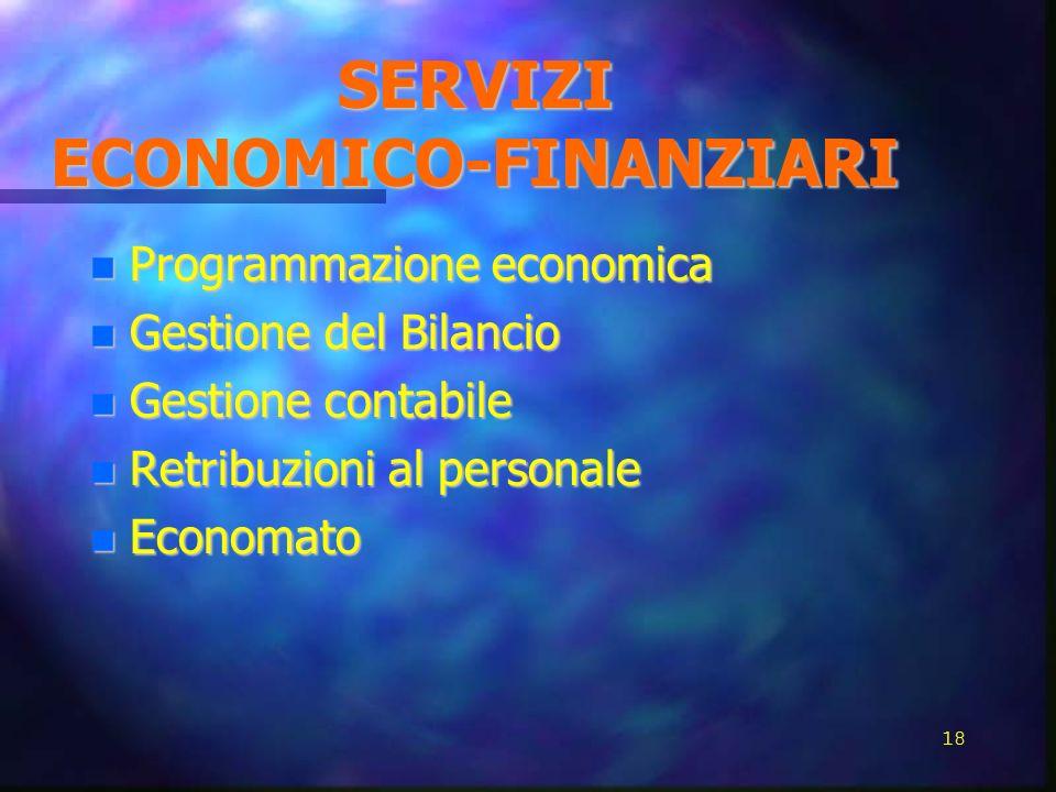 SERVIZI ECONOMICO-FINANZIARI Programmazione economica Programmazione economica Gestione del Bilancio Gestione del Bilancio Gestione contabile Gestione