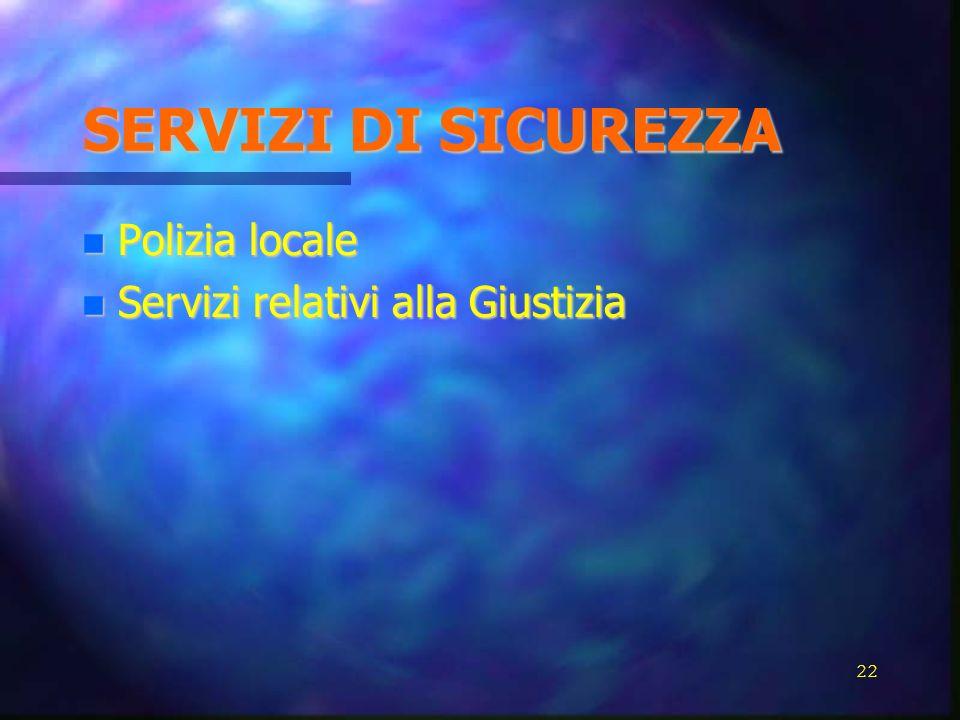 SERVIZI DI SICUREZZA Polizia locale Polizia locale Servizi relativi alla Giustizia Servizi relativi alla Giustizia 22
