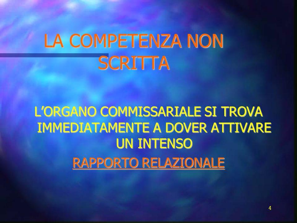 LA COMPETENZA NON SCRITTA LORGANO COMMISSARIALE SI TROVA IMMEDIATAMENTE A DOVER ATTIVARE UN INTENSO RAPPORTO RELAZIONALE 4