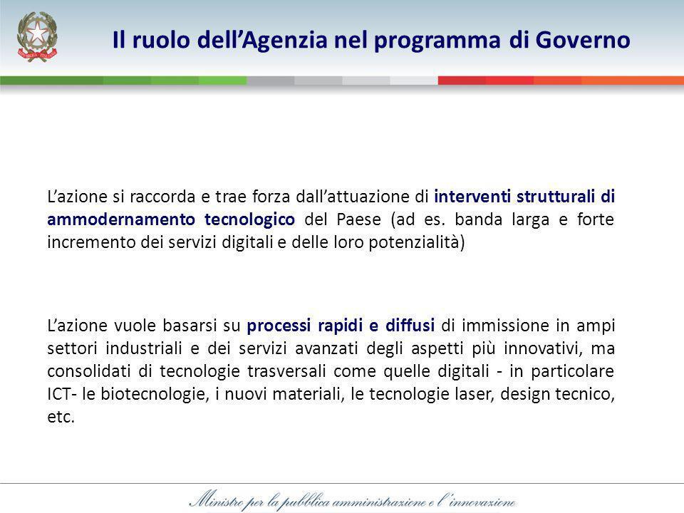 Lazione si raccorda e trae forza dallattuazione di interventi strutturali di ammodernamento tecnologico del Paese (ad es.