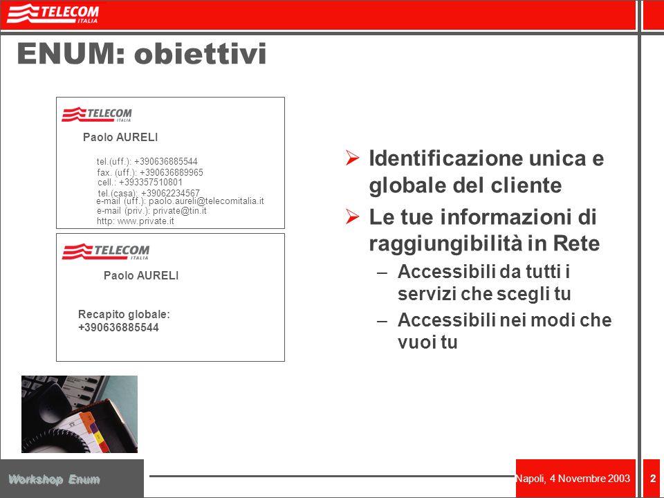 Napoli, 4 Novembre 2003 Workshop Enum 2 ENUM: obiettivi Identificazione unica e globale del cliente Le tue informazioni di raggiungibilità in Rete –Accessibili da tutti i servizi che scegli tu –Accessibili nei modi che vuoi tu tel.(uff.): +390636885544 e-mail (uff.): paolo.aureli@telecomitalia.it http: www.private.it fax.