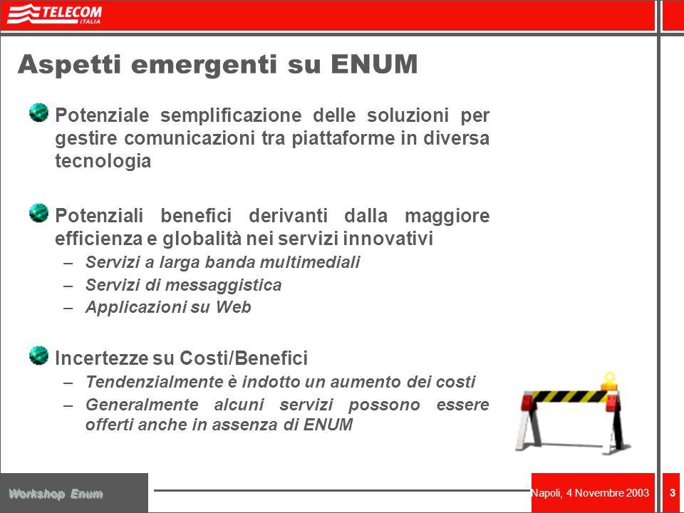 Napoli, 4 Novembre 2003 Workshop Enum 3 Potenziale semplificazione delle soluzioni per gestire comunicazioni tra piattaforme in diversa tecnologia Pot