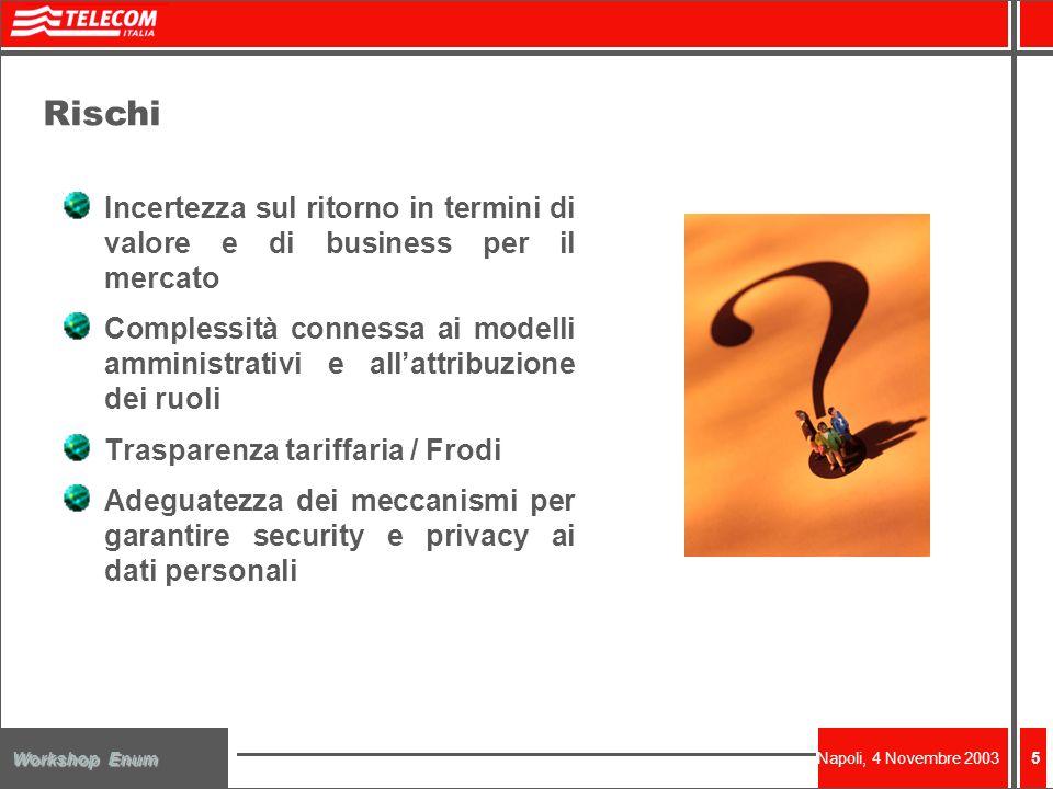 Napoli, 4 Novembre 2003 Workshop Enum 5 Rischi Incertezza sul ritorno in termini di valore e di business per il mercato Complessità connessa ai modelli amministrativi e allattribuzione dei ruoli Trasparenza tariffaria / Frodi Adeguatezza dei meccanismi per garantire security e privacy ai dati personali