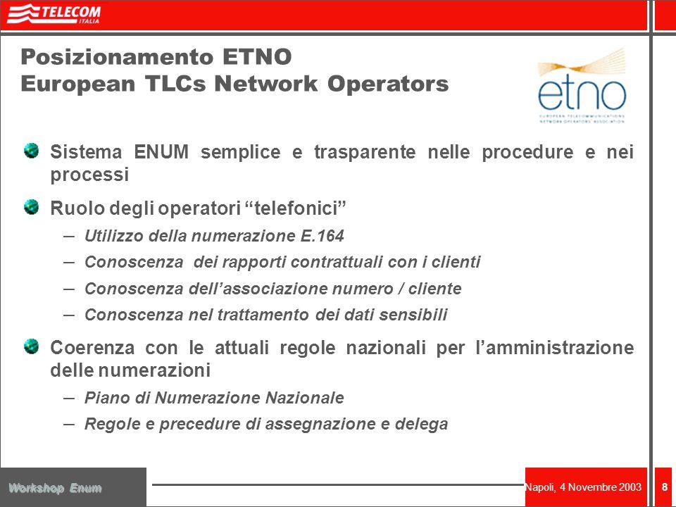 Napoli, 4 Novembre 2003 Workshop Enum 8 Posizionamento ETNO European TLCs Network Operators Sistema ENUM semplice e trasparente nelle procedure e nei