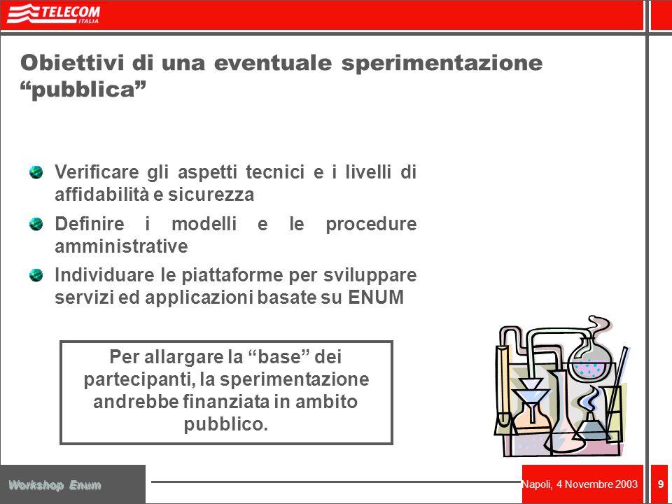 Napoli, 4 Novembre 2003 Workshop Enum 9 Obiettivi di una eventuale sperimentazione pubblica Verificare gli aspetti tecnici e i livelli di affidabilità e sicurezza Definire i modelli e le procedure amministrative Individuare le piattaforme per sviluppare servizi ed applicazioni basate su ENUM Per allargare la base dei partecipanti, la sperimentazione andrebbe finanziata in ambito pubblico.