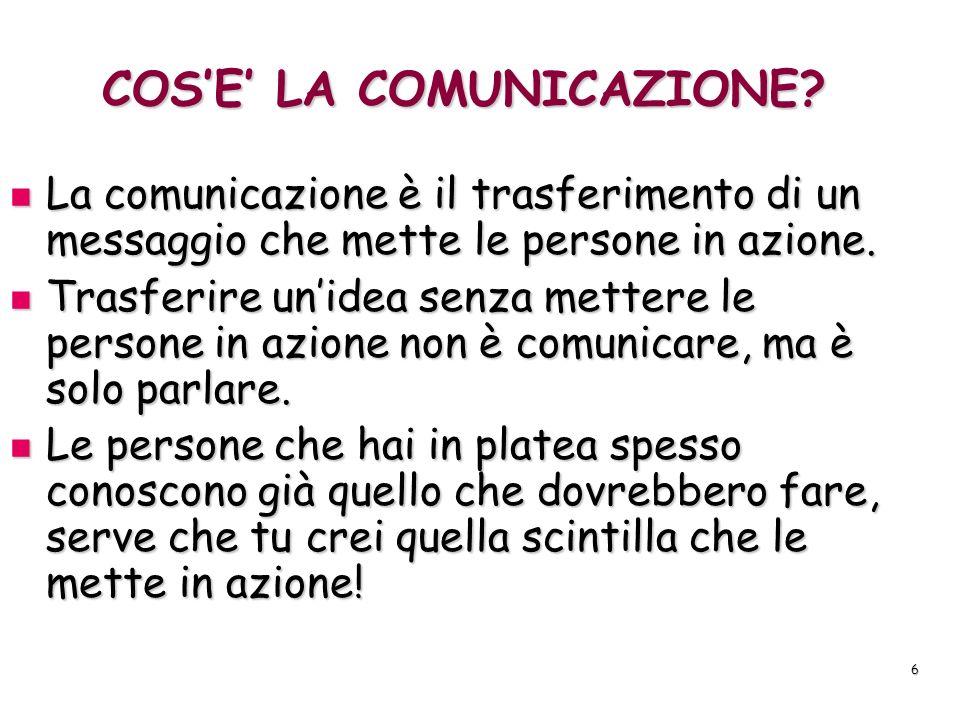 7 IMPORTANZA DELLA COMUNICAZIONE Una volta che abbiamo unidea da comunicare ad una platea dobbiamo renderci conto che alla sala si applicano le stesse basi che si applicherebbero ad una normale comunicazione.