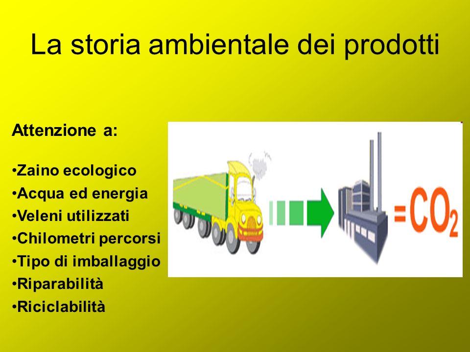 La storia ambientale dei prodotti Attenzione a: Zaino ecologico Acqua ed energia Veleni utilizzati Chilometri percorsi Tipo di imballaggio Riparabilit